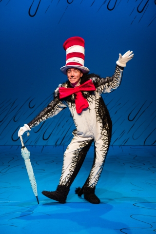 Austin Archer as the Cat in Dr. Seuss's THE CAT IN THE HAT at Salt Lake Acting Company
