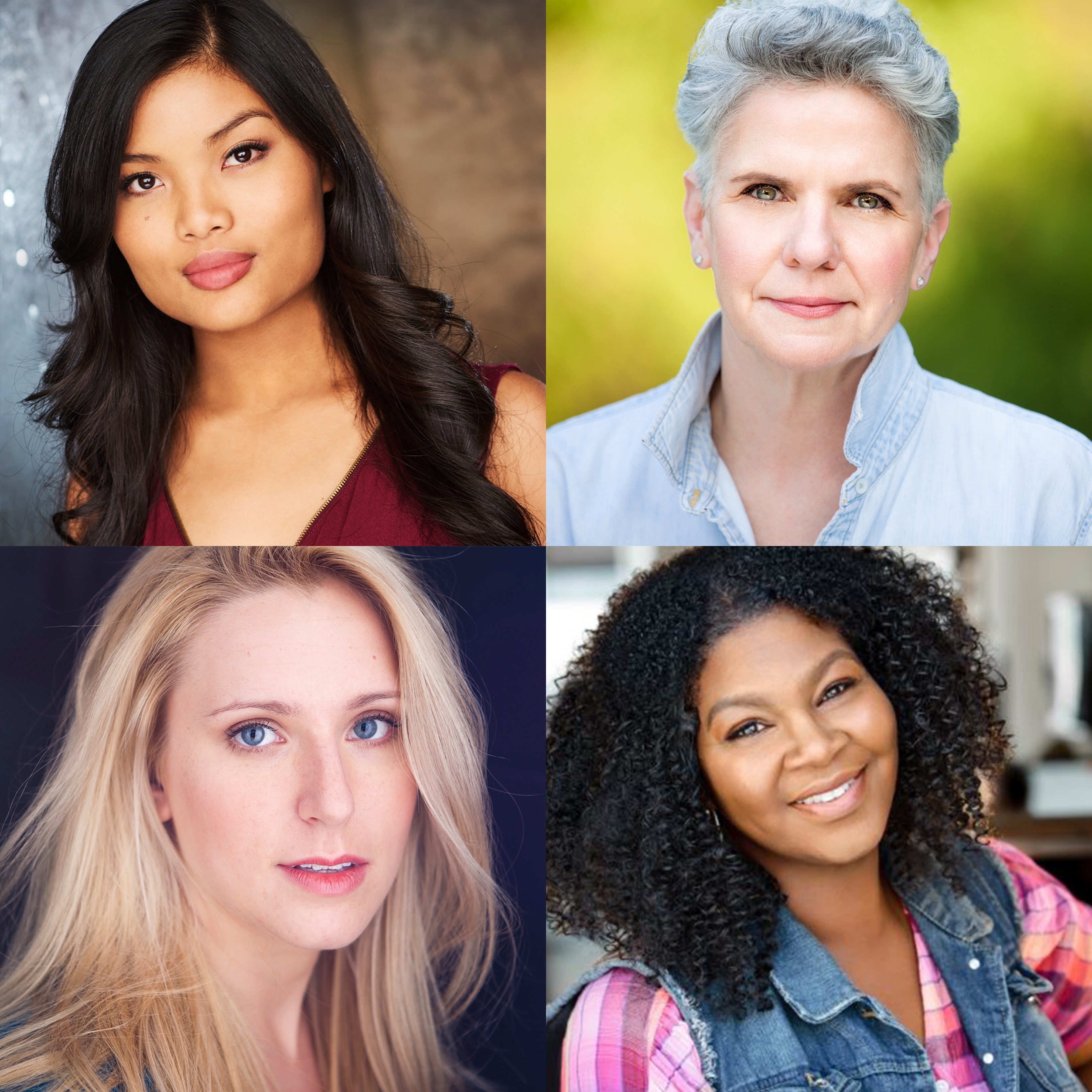 Four headshots featuring the cast of Alabaster